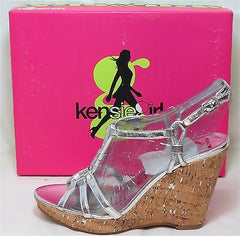 KENSIE GIRL Women's Daville Wedge - Silver/Cork - Multi SZ NIB - MSRP $59