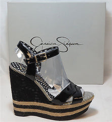 JESSICA SIMPSON Women's Carson 3 Wedge - Black Patent - Multi SZ NIB - MSRP $89