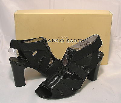 FRANCO SARTO Women's •Loner• Stacked Heel Sandal - Black - - ShooDog.com