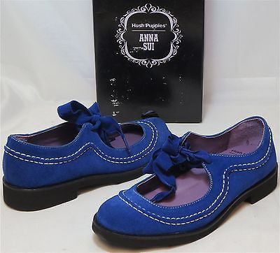 ANNA SUI for HUSH PUPPIES  •Tap• Mary Jane - Elect Blue Suede - ShooDog.com