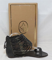 ASH Women's Nairobi Hand Beaded Sandal - Black - - ShooDog.com