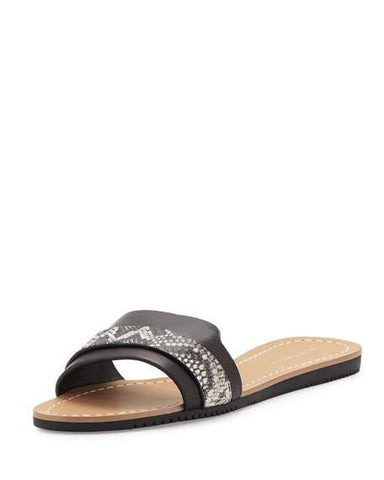 ELIE TAHARI  Women's Negril •Black/White• Leather Slide Sandal - ShooDog.com