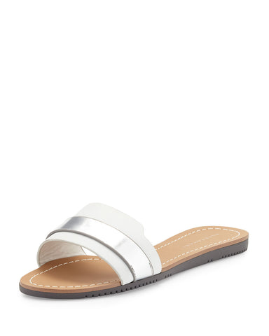 ELIE TAHARI  Women's Negril •Chrome/Argento• Leather Slide Sandal