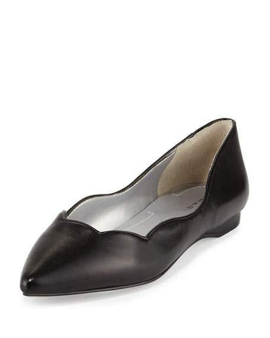 TAHARI Women's Emmy •Black• Scalloped Leather Flat - ShooDog.com