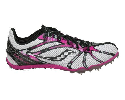 Women's Saucony Endorphin Spike MD2 Track & Field Shoe  •Whit//Black/Pink• - ShooDog.com
