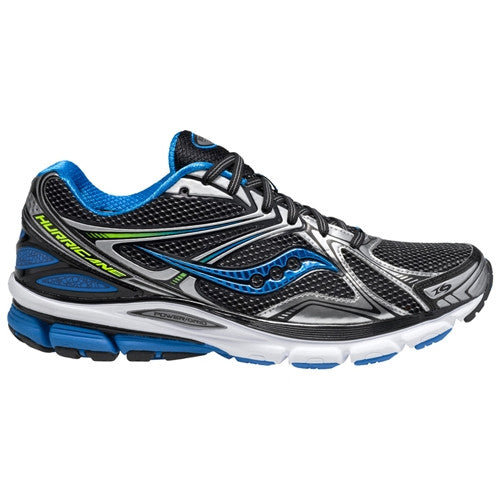 Men's Saucony PowerGrid Hurricane 16 •Black/Blue/Citron • RUNNING SHOES - Wide Width - ShooDog.com