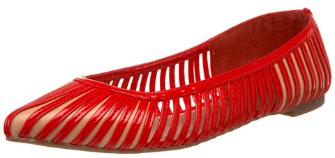 JESSICA SIMPSON Women's •Goziti• Pointed Toe Flat - Majestic Red,