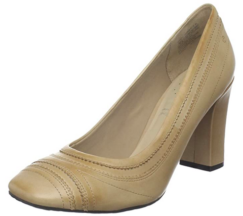 Women's Rockport •Helena • Pinked Pump - Antl Tan