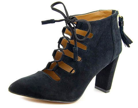 ADRIENNE VITTADINI Women's •Neano• Suede Lace-up Bootie - Black - ShooDog.com
