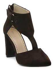Women's Adrienne Vittadini •Nikos• T Strap Pumps - Kid Suede Leather