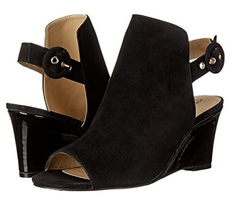 Women's ADRIENNE VITTADINI •Rasi• Wedge Sandal - Black Kid Seude