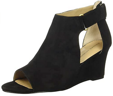 Women's ADRIENNE VITTADINI •Rivai• Wedge Sandal - Black Kid Seude
