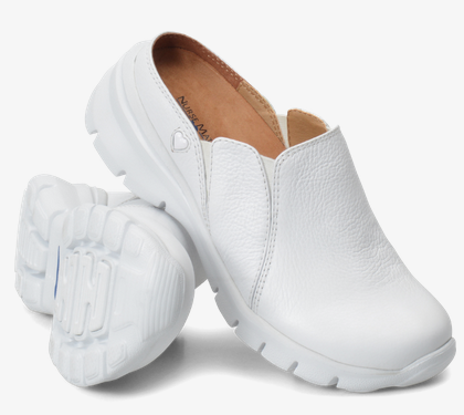 Nurse Mates Leah •White Leather• Slip-On Shoes - ShooDog.com