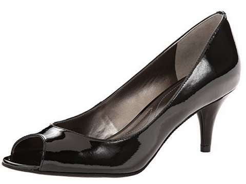 Tahari Women's •Marie• Open-toe Pump - Black Patent Leather - ShooDog.com