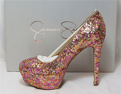 JESSICA SIMPSON Women's •Devin•  Pump - Rose Gold Sparkly - ShooDog.com
