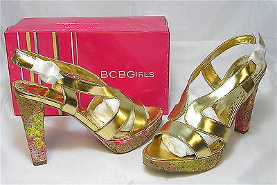 BCBGirls Wall Sandal - Gold - Size 7.5M and 9M only - NIB - MSRP $110