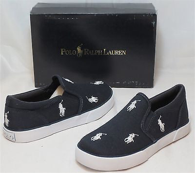 "POLO RALPH LAUREN Kids' ""Bal Harbour Repeat"" Canvas Slip On  -Navy/White- - ShooDog.com"