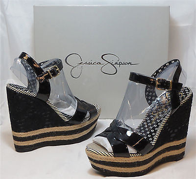JESSICA SIMPSON Women's •Carson•  Wedge - Black Patent - - ShooDog.com