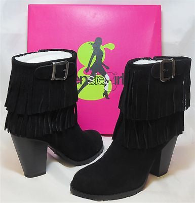 KENSIE GIRL Women's Ranella Fringe Boot - Black Suede - Multi SZ NIB - MSRP $79 - ShooDog.com