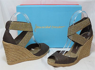 JEAN-MICHEL CAZABAT Women's Barcelona Wedge - Antique Gold - Multi Sz- MSRP $195 - ShooDog.com