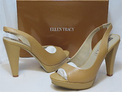 ELLEN TRACY Women's Nights Peep Toe Platforms - Tan - - ShooDog.com
