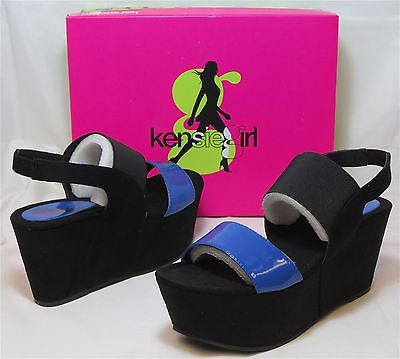 KENSIE GIRL Women's Marylynn Sandal - Black/Elec Blue - Sz 7.5,8,8.5 - MSRP $60 - ShooDog.com