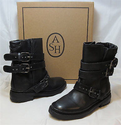 ASH ITALIA Women's • Emmy  • Motorcycle Boot - Black - NIB - MSRP $385