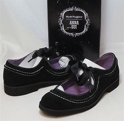 ANNA SUI for HUSH PUPPIES - AS Tap - Black Suede - Multi SZ NIB - MSRP $105