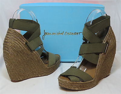 JEAN-MICHEL CAZABAT Women's Zesta Wedge - Khaki - Multi SZ NIB - MSRP $295!