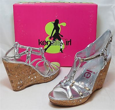 KENSIE GIRL Women's Daville Wedge - Silver/Cork - Multi SZ NIB - MSRP $59 - ShooDog.com