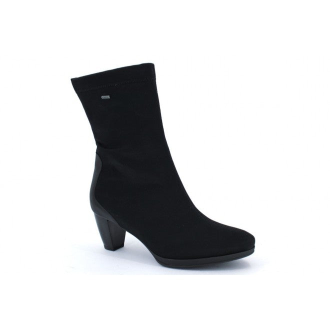 ara Women's •Tabitha•  Mid Heel Gortex Boot - Black Fabric/Leather Accent - ShooDog.com