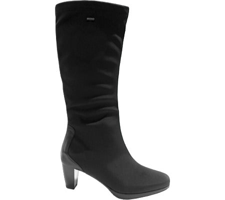 ara Women's •Thorne• Tall Shaft Mid Heel Gortex Boot - Black Fabric/Leather Accent - ShooDog.com