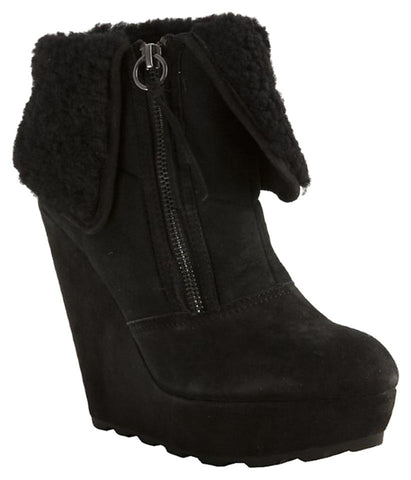 ASH Women's •Folk• Suede Wedge Bootie - Black - ShooDog.com