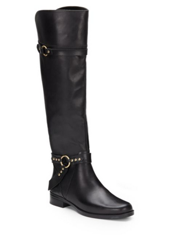 "ELLEN TRACY Women's ""Bedford"" •Black Leather • Harness Riding Boots"