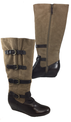 Crown Vintage Clover Wedge  Boot •Whisky/Cigar• Expandable Shaft - ShooDog.com