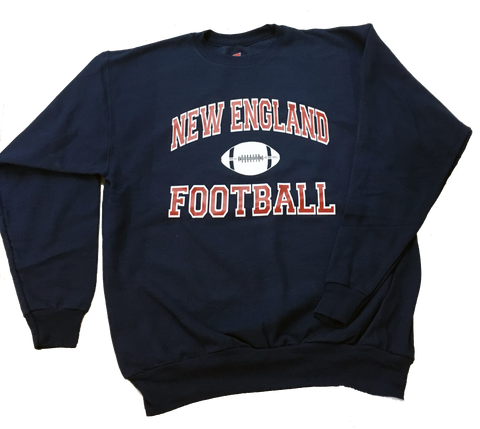 Adult's •New England Football Print•  8 oz. Fleece Crew Sweat Shirt- Patriots football Colors - ShooDog.com
