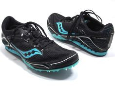 Saucony Women's Velocity 4 Track & Field Shoes/Spikes •Black/Blue•