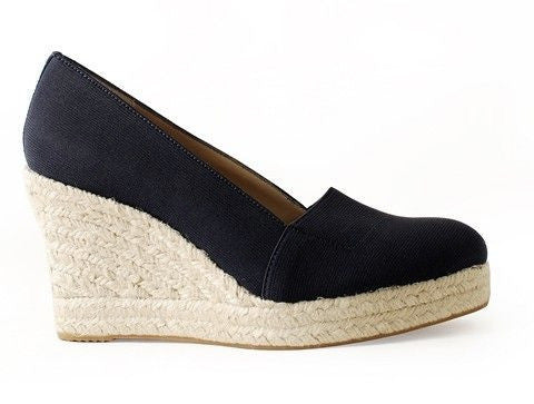 Womens's J.LITVACK Tobago •Black Elastic• Raffia Wedge