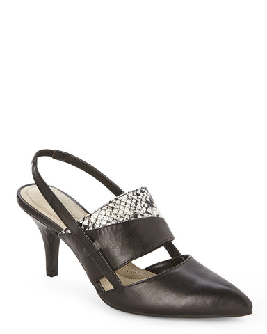 Women's ELLEN TRACY •Bello• Black/WhiteSnake Pump