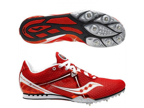 Men's Saucony Velocity-5 Running Spikes •Red• - ShooDog.com