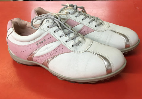 Women's ECCO Golf Shoes SZ. 7-7.5 US/EU 38 White/Pink/Silver Hydo~Max - ShooDog.com