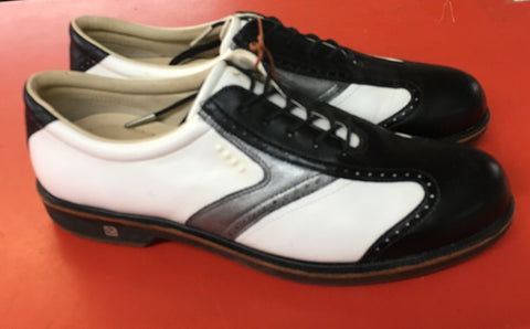Women's ECCO Golf Shoes SZ. 11-11.5 US/EU 42 White/Black/Metallic Hydo~Max Brogue - ShooDog.com