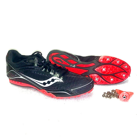 Men's Saucony Velocity-4 Running Spikes •Black/Red•
