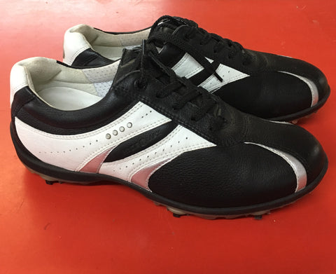 Women's ECCO Golf Shoes SZ. 6-6.5 US/EU 37 Black/White/Silver Hydo~Max - ShooDog.com