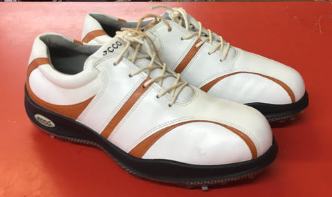 Women's ECCO Golf Shoes SZ. 8-8.5 US/EU 39 White/Tan - ShooDog.com