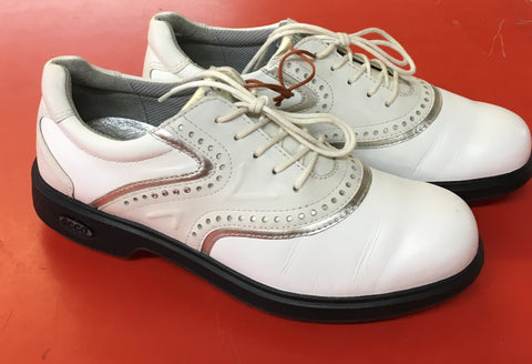 Women's ECCO Golf Shoes SZ. 6-6.5 US/EU 37. White/Silver Hydro-max - ShooDog.com