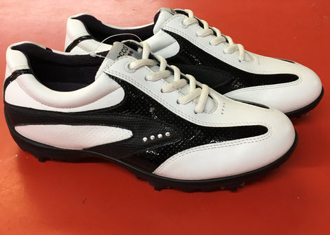 Women's ECCO Golf Shoes SZ. 6-6.5 US/EU 37 White/Black Hydo~Max - ShooDog.com