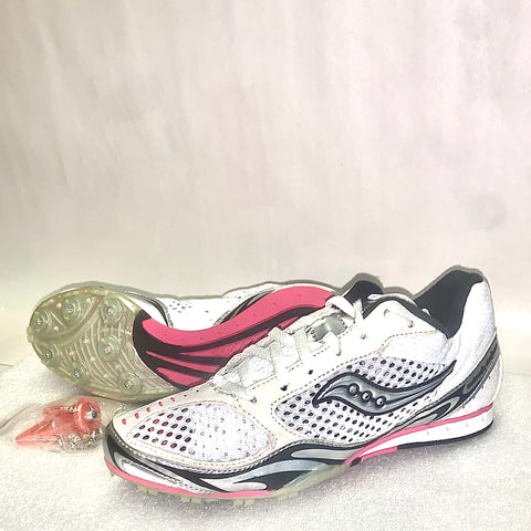 Women's Velocity Distance Track & Field Shoes/Spikes •White/Black/Silver/Pink•