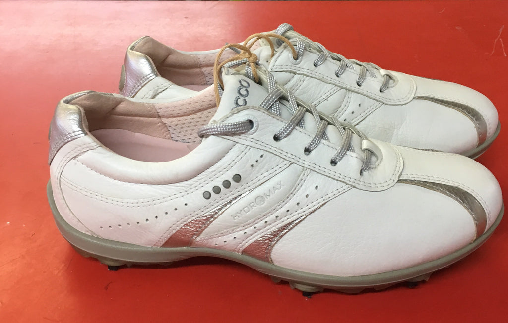 Women's ECCO Golf Shoes SZ. 6-6.5 US/EU 37 White/Silver Hydo~Max - ShooDog.com