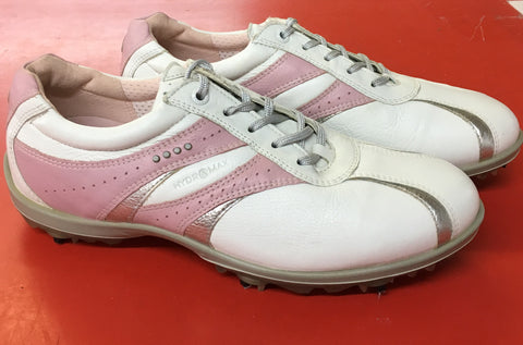 Women's ECCO Golf Shoes SZ. 9-9.5 US/EU 40 White/Pink/Silver Hydo~Max